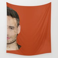 liam payne Wall Tapestries featuring Liam Payne Polygon Half Face by summergirl