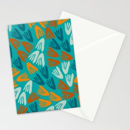 Papier Découpé Modern Abstract Cutout Pattern in Rust, Aqua, Orange, Teal, Turquoise Stationery Cards
