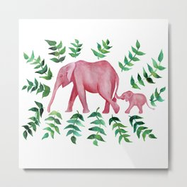 Pink Elephant Mother and Baby  Metal Print