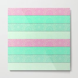 Pink Mint Green Snowflake Stripes Metal Print