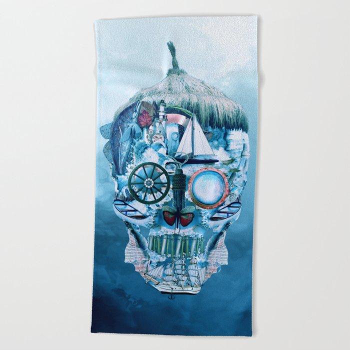 Skull Ocean Blue Beach Towel
