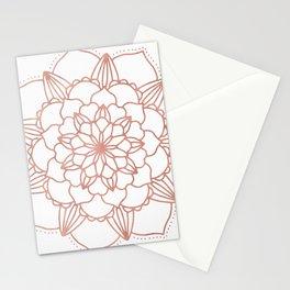 Rose Gold Mandala Flower on White III Stationery Cards