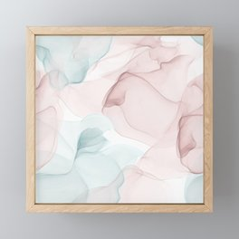 Blush and Blue Flowing Abstract Painting Framed Mini Art Print