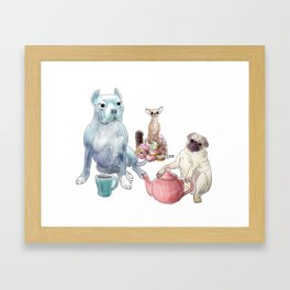 The pitbull pug and chi sat down for some tea Framed Art Print