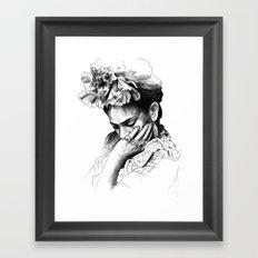 Frida Kahlo - pencil portrait Framed Art Print