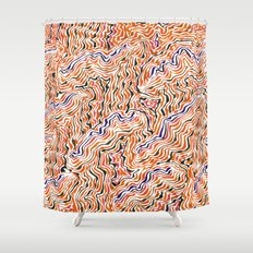red topography Shower Curtain