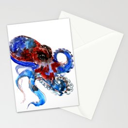 Octopus blue red octopus artwork deep blue navy blue burgundy red sea world beach Stationery Cards