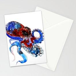 Octopus blue red octopus artwork deep blue navy blue burgundy red sea world beach Stationery Cards