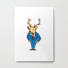 Stag Deer Hands on Hips Standing Cartoon Metal Print