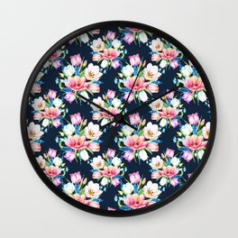 tulips on dark background Wall Clock
