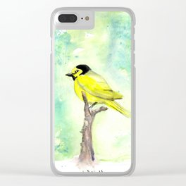 Hooded warbler in watercolor Clear iPhone Case