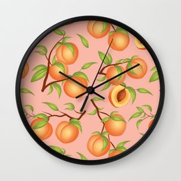 Practice What You Peach - Peaches on Pink Wall Clock