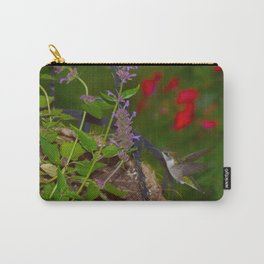 Hanging basket hummingbird with bee balm 52 Carry-All Pouch