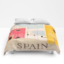 Spain Vintage Travel Poster Mid Century Minimalist Art Comforters