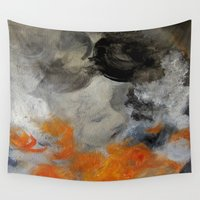 imagerybydianna Wall Tapestries featuring empty hurricane fires by Imagery by dianna