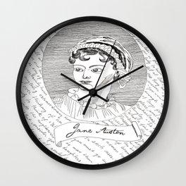 Jane Austen author portrait with Pride and Prejudice quotes Wall Clock