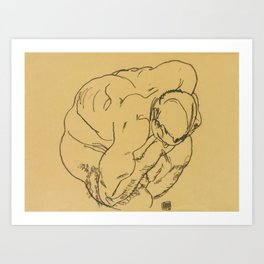 "Egon Schiele ""Crouching male nude"" Art Print"