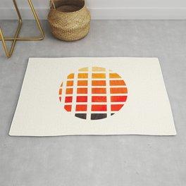 Watercolor Colorful Orange Minimalist Mid Century Modern Square Matrix Geometric Pattern Round Circl Rug