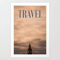 travel poster Art Prints featuring Travel by Efty