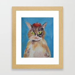Calico Cat with Beret Framed Art Print