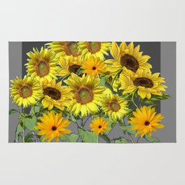 GREY YELLOW SUNFLOWER FIELD ART Rug