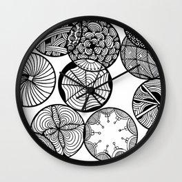 Vortex of Change Circular Zentangle Zendoodle Artwork Wall Clock