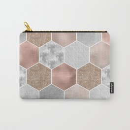 Gentle rose gold and marble hexagons Carry-All Pouch