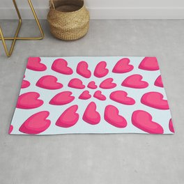 Pattern of red heart shapes on a white background Rug