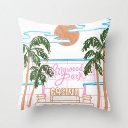 Hollywood Park Casino Throw Pillow