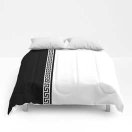 Greek Key 2 - White and Black Comforters