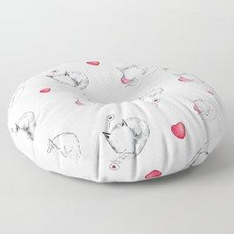 Love Fox Doodle Art Floor Pillow