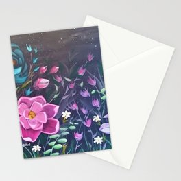 Moonlight Sonata, Bright flowers on Black, Night flowers, Bright floral on dark background Stationery Cards