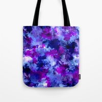 Tote Bags featuring Modern blue purple watercolor brushstrokes paint by Girly Trend