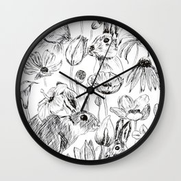 rabbits and flowers parties Wall Clock