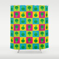 popart Shower Curtains featuring Popart Broccoli by XOOXOO