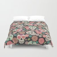 sugar skulls Duvet Covers featuring Sugar Skulls by Bohemian Gypsy Jane