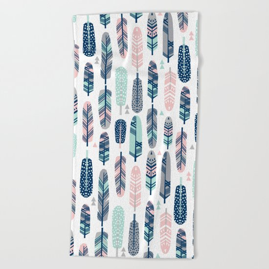 Feathers geometric trendy gender neutral colors modern feather and arrows pattern print dorm college Beach Towel
