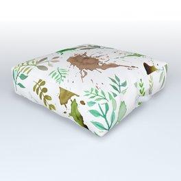 Green Leaves, Paint Splatter, Pattern Outdoor Floor Cushion