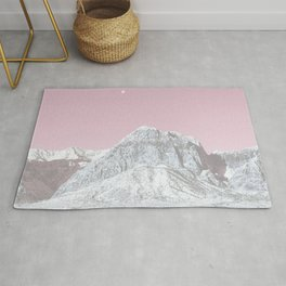 Mojave Pink Sky // Red Rock Canyon Las Vegas Desert Landscape Snowstorm Moon Mountains Rug