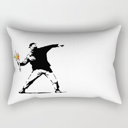 Banksy Flower Bomber Rectangular Pillow