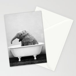 Baby Elephant in a Vintage Bathtub (bw) Stationery Cards
