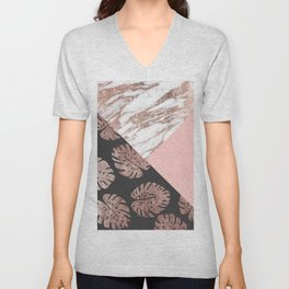 Blush Pink Rose Gold Marble Swiss Cheese Leaves Unisex V-Neck