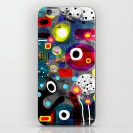 Abstract Grungy Distressed Art Dark Polka Dots iPhone Skin