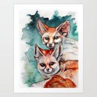 Fennec Family  Art Print