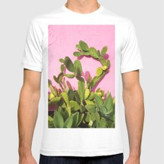Pink Wall/Green Cactus  White MEDIUM Mens Fitted Tee