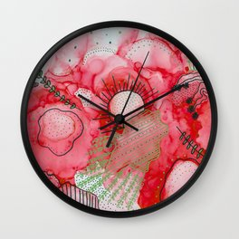 red alcohol ink flowers Wall Clock
