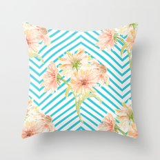Flowers and Stripes Throw Pillow