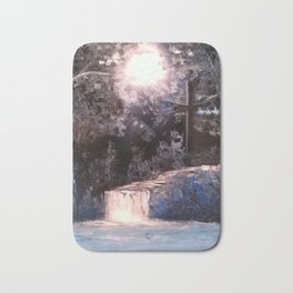 Blues In Nature Waterfall Spray Painting Bath Mat