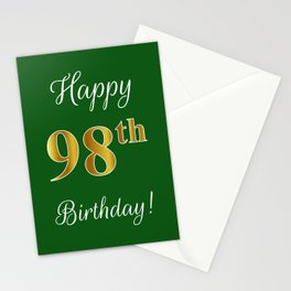 """Elegant """"Happy 98th Birthday!"""" With Faux/Imitation Gold-Inspired Color Pattern Number (on Green) Stationery Cards"""