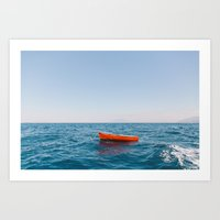 Red Row Boat Art Print